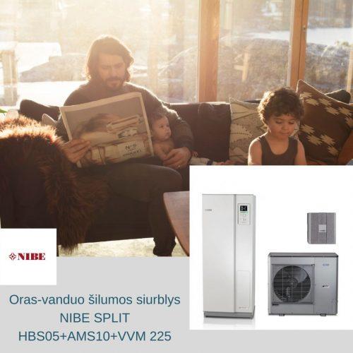 NIBE split oras vanduo silumos siurblys AMS10 HBS 05 VVM225